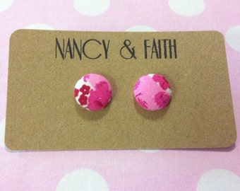 Pink Floral Fabric Covered Earrings