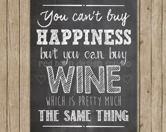 You Can't Buy Happiness, But You Can Buy Wine (which is pretty much the same thing)... Wine Chalkboard Print