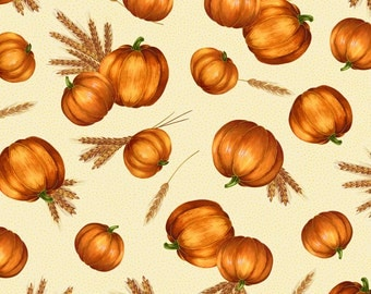 Per Yard, Wheat and Pumpkins Toss Fabric Cream With Metallic Gold From Quilting Treasures