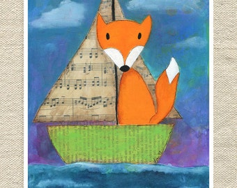 Nautical Wall Art with a Fox for a Child's Bedroom