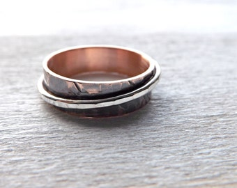 copper silver ring, hammered ring copper silver ring, rustic mens ring, unqiue copper ring, cool mens ring, forged copper ring anniversary