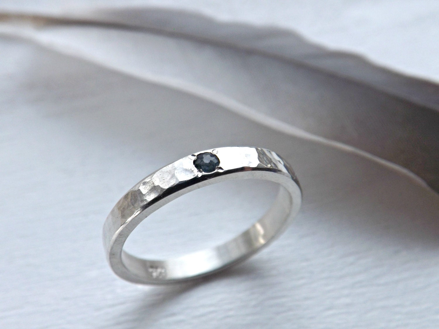 Silver engagement ring simple sapphire engagement by for Wedding ring minimalist