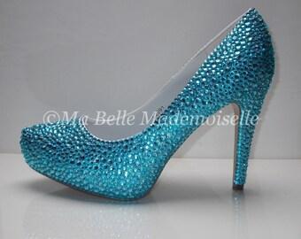 Something Blue Crystal Shoes, Rhinestone Shoes, Bridal Shoes, Something Blue Wedding Shoes, Something Blue Bridal Shoes, Blue Wedding Shoes