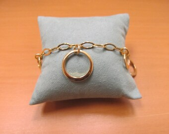 Vintag 925 Silver Vermeil Link and Circle Bracelet Item W-#700