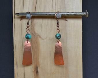 Hammered Copper with African Turquoise earrings