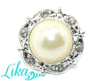 Rhinestone Button - Metal Rhinestone buttons - 20 mm - Pearl Rhinestone - Flatback Rhinestones - Wholesale - Princess Collection
