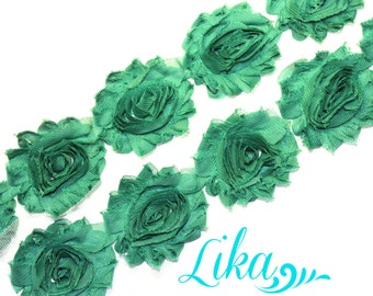 Dark Emerald Shabby Flower Trim - 1 yard - Shabby Rose trim - Shabby Flower Rose Trim - Chiffon Flower - Shabby Chic - Rose Trim