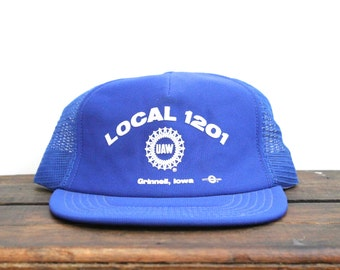 Vintage Local 1201 UAW United Auto Workers Union Grinnell Iowa Trucker Hat Snapback Baseball Cap
