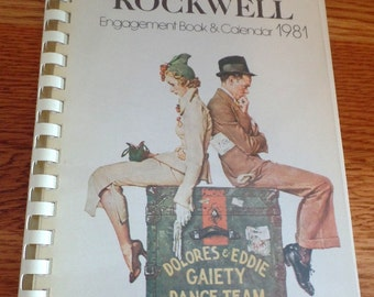 1981 Norman Rockwell Engagement book with color images on each page.