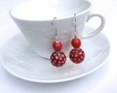 Red Polka Dotted Ceramic Handmade Earrings, Stainless Steel Wires, African Fair Trade Kazuri Beads, Sterling Silver Coiled Design