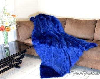 New Navy Blue Shaggy Faux Fur Comforters Blanket Handmade High Quality Bedroom Sofa Decor