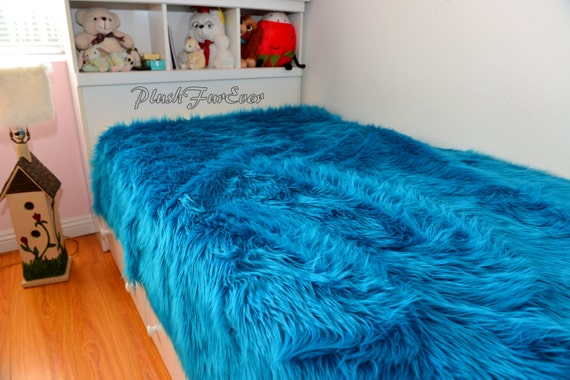 New Turquoise Teal Shaggy Luxury Faux Fur Bedding Boy Nursery
