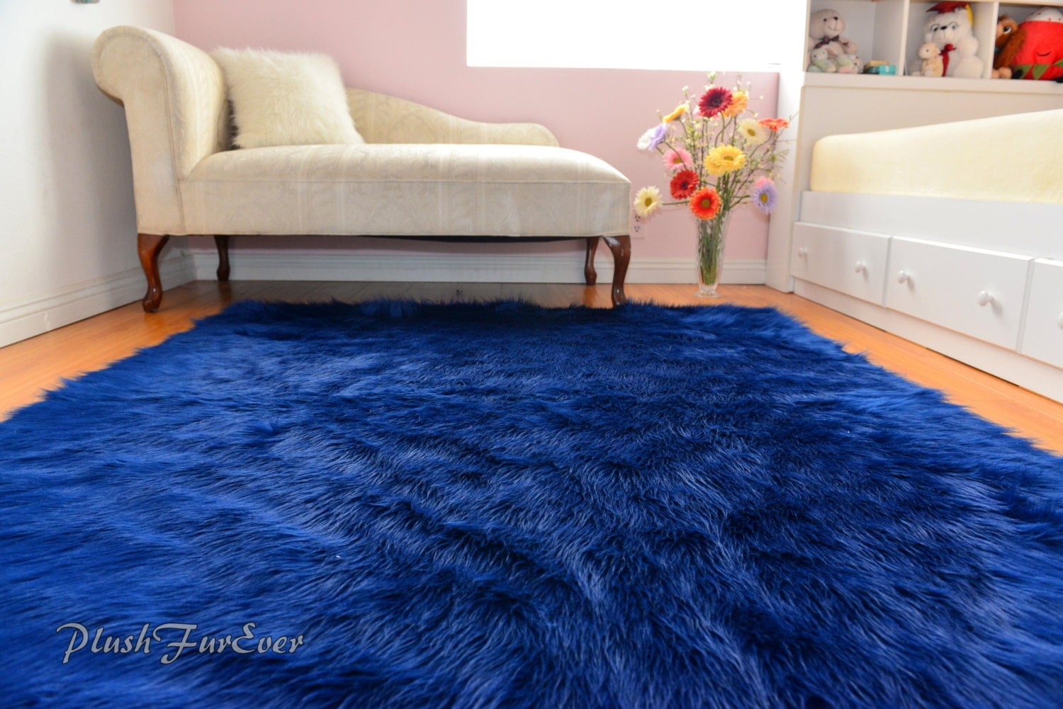 Navy Blue Rich Luxurious Shaggy Rectangle Area Rug Nonslip