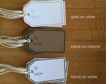 24 Gift Tags, Tan String, Handcrafted, Digitally Printed