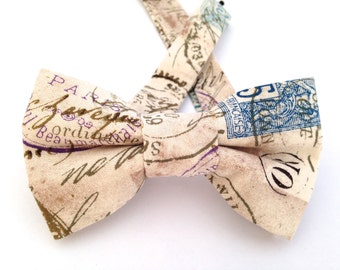 Old stamps bow tie, Stamps bow tie, tan bow tie, funky bow ties,Father's Day gift, bow, stamps necktie, stamps neckwear, travel bow tie