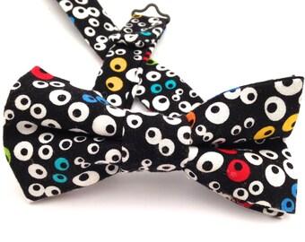 Googly eye bow tie, Bow tie, boys bow tie, black bow tie, multicolor bow tie,  goggly eye ties, kids black bow tie, funny bow ties