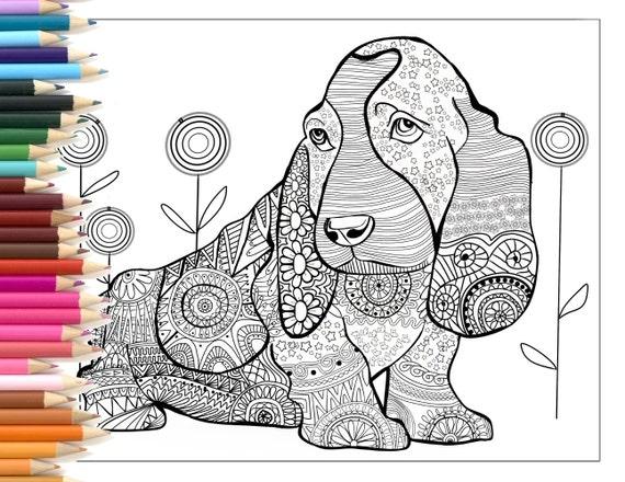 Dog zentangle coloring page printable