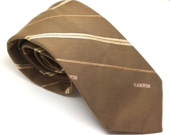 """Vintage LANVIN Paris Tie,Beige Brown Striped Tie, 3"""" Tie, High End Designer Tie, Preppy Tie, Polyester Tie"""
