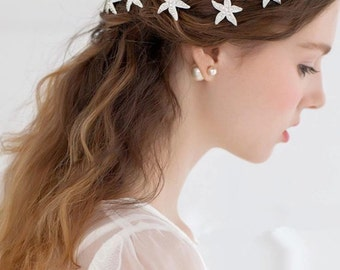 Crystal Starfish in Silver Tone Bridal Wedding Hair Pin (Set of 6)
