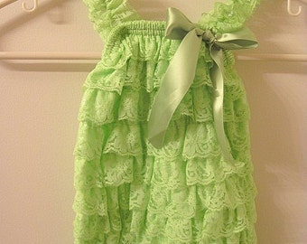Baby Toddler Ruffle Petti Romper With Straps Lime Green LARGE
