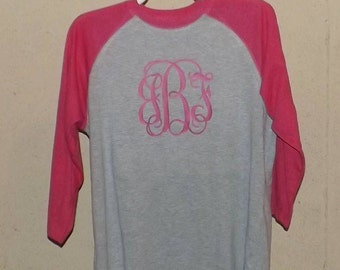 Monogram Baseball T-Shirt / Three Quarter Sleeve