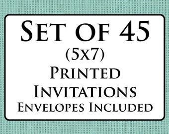 Set of 45 Printed Invitations with Envelopes