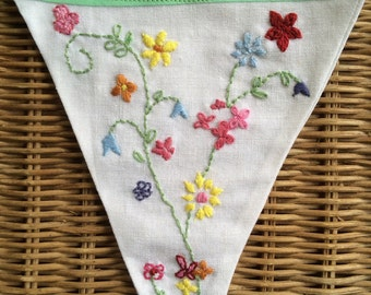 Embroidered Vintage Table Cloth Inspired Bunting