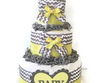 Yellow and Gray Chevron Baby Diaper Cake, Yellow and Gray Baby Shower Centerpiece