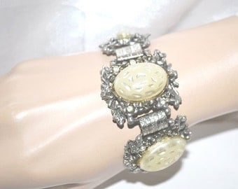 Vintage Bracelet Chunky Faux Pearl Linked Panels with Floral Design