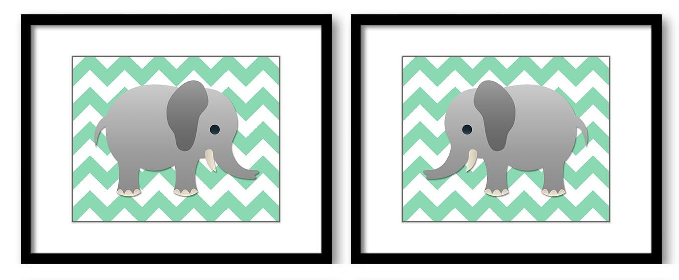 Elephant Nursery Art Nursery Print Set of 2 Elephants Mint Green Chevron Grey Child Art Prints Boy K
