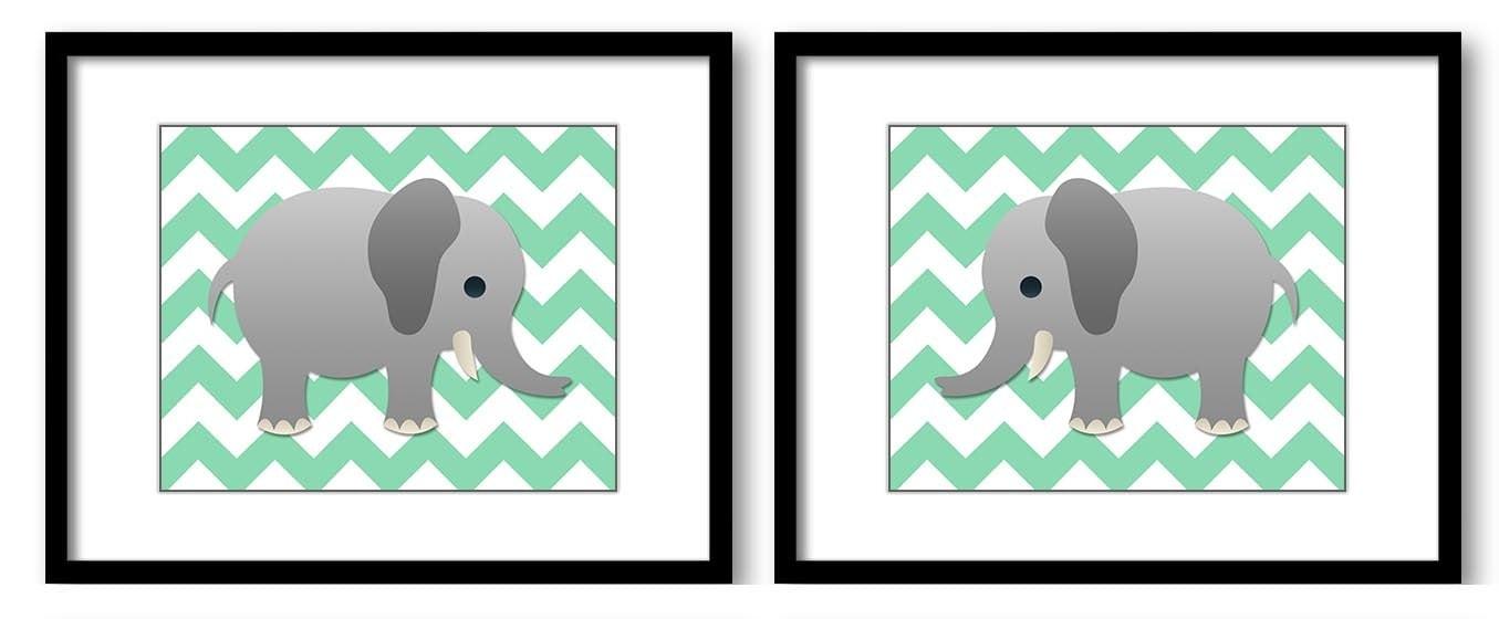 Elephant Nursery Art Nursery Print Set of 2 Elephants Mint Green Chevron Grey Child Art Prints Boy K