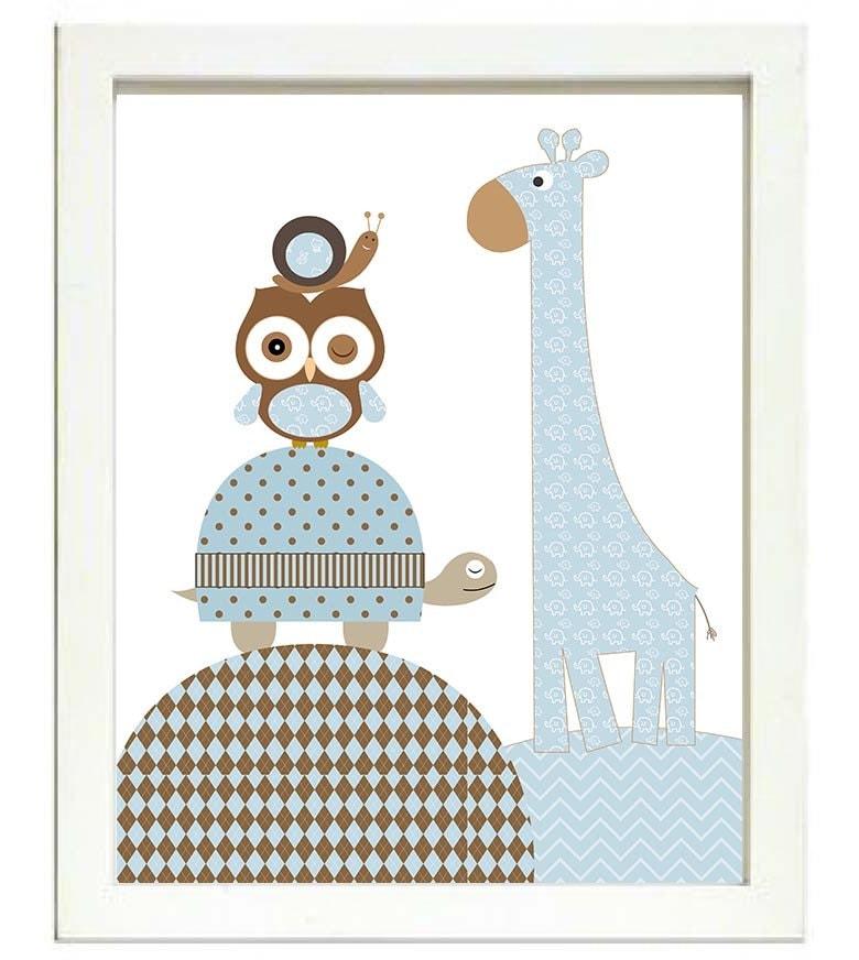 Turtle Giraffe Owl Snale Nursery Art Nursery Print Baby Art Animal Turtle Brown Beige Blue Polka Dot