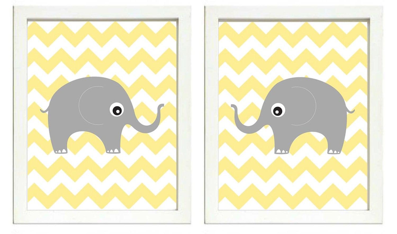 Elephant Nursery Art Nursery Print Set of 2 Elephants Yellow Chevron Grey Child Art Prints Kids Room