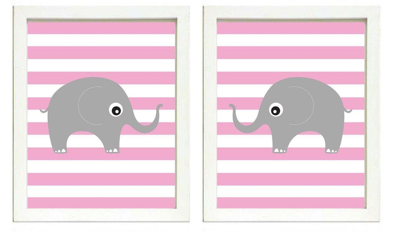 Elephant Nursery Art Nursery Print Set of 2 Elephants Pink Stripes Grey Child Art Prints Girl Kids R