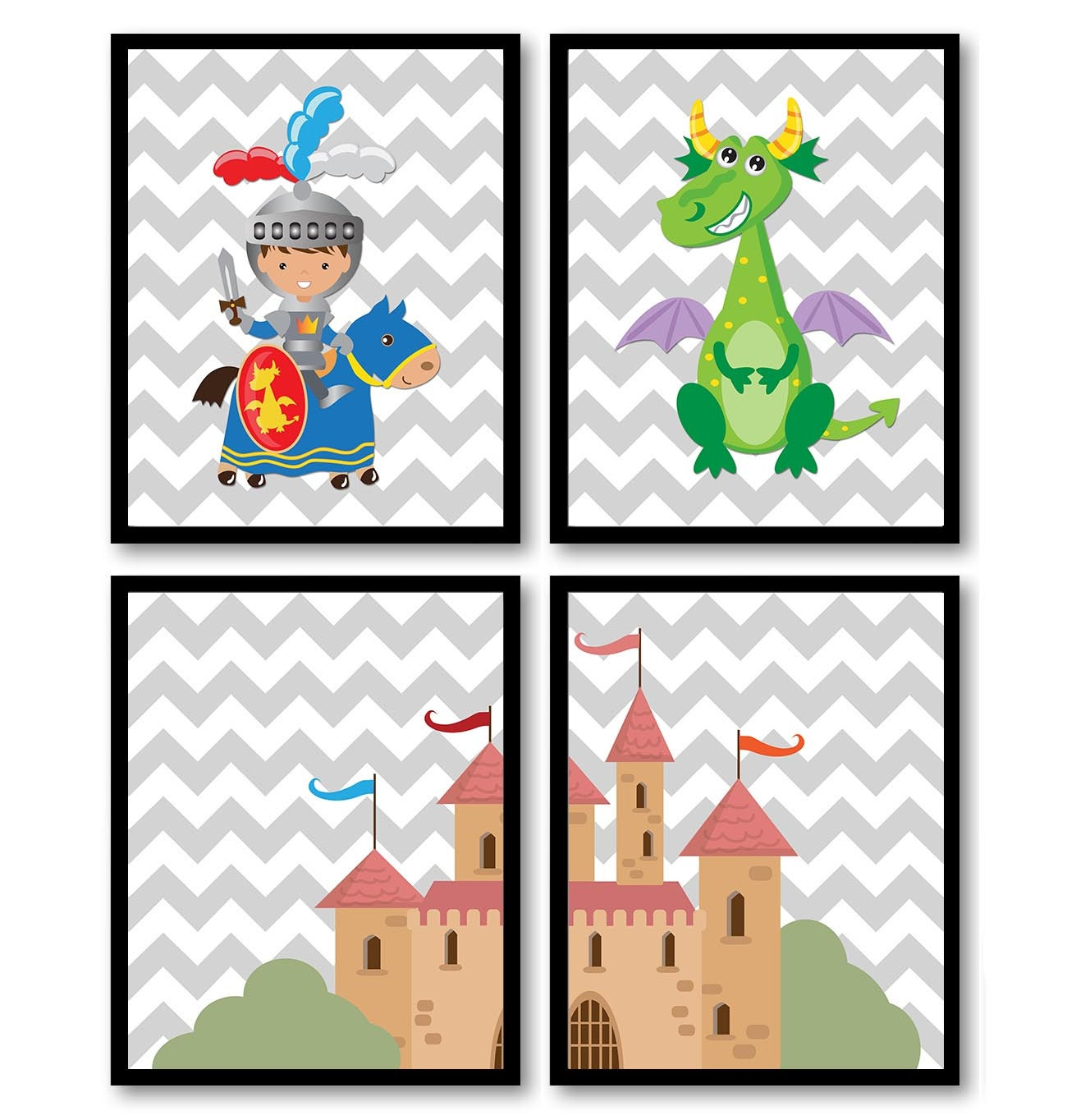 Fairy Tale Nursery Art Child Baby Set of 4 Art Prints Grey Chevron Boy Knight Dragon Castle Kids Roo