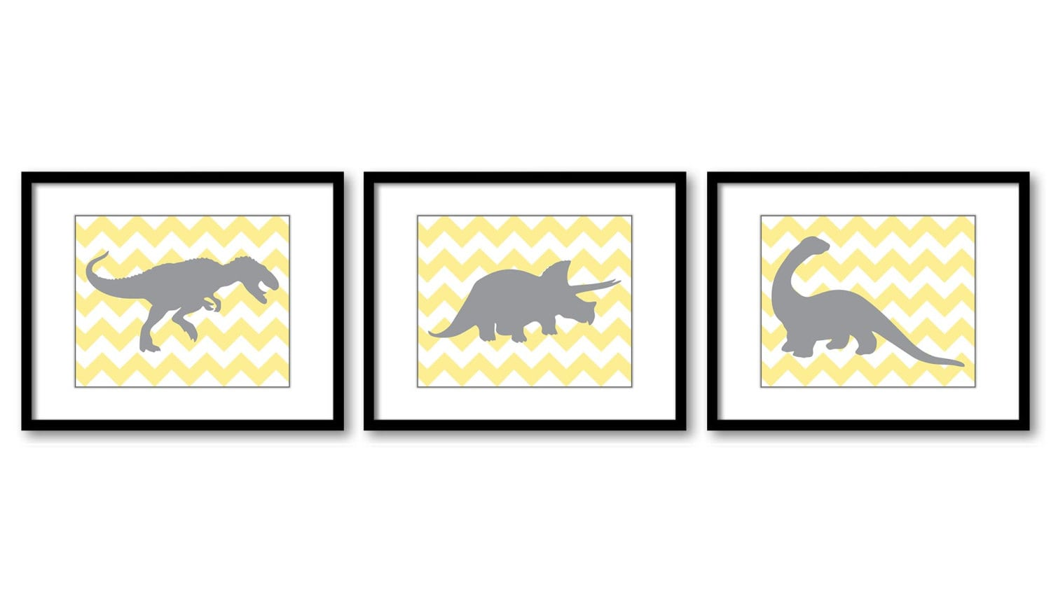 Dinosaur Nursery Art Dinosaurs Prints Set of 3 Prints Yellow Grey Chevron Tyrannosaurus Rex Tricerat