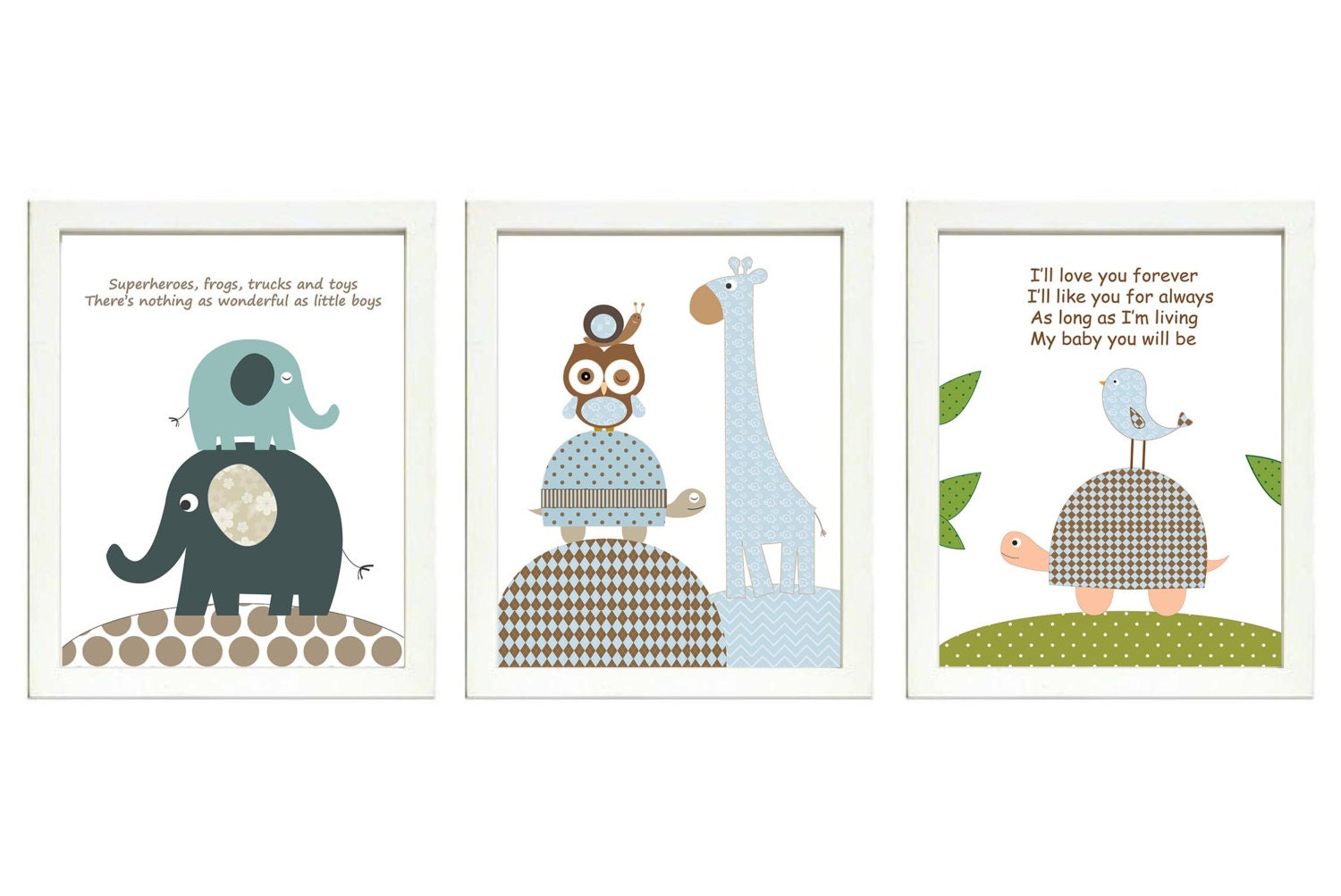Blue Grey Brown  Boys Nursery Art Print Set of 3 Elephant Owl Bird Turtle Giraffe Baby Nursery Print