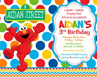 Elmo Birthday Party Invitation - Printable or Printed