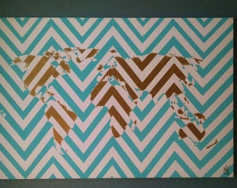 Chevron Map Painting