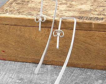 Drop Earrings - Silver Earrings - Silver Drops - Minimal Earrings - Simple Earrings - Long Drop Earrings - Modern Earrings - Gifts under 20