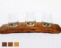 The Original Wine Barrel Stave Wine Flight 3 Glass Holder Barrel Art