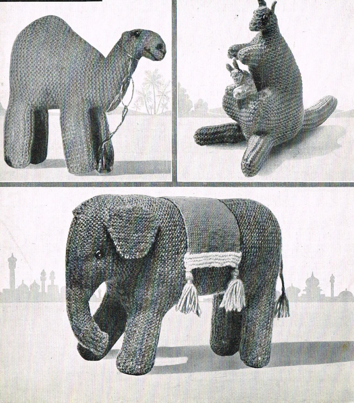 Toy Camel Kangaroo & Elephant knitting pattern. Vintage