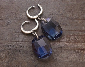 SALE 10 - 20 % OFF use the code • denim blue Swarovski crystal earrings • 925 sterling silver • gift for her • dangle hoops