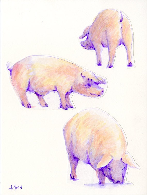 Three Pigs, Watercolor Collage