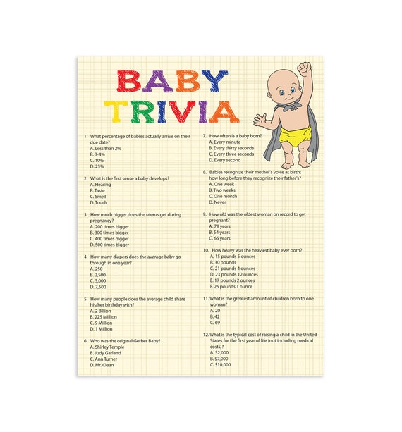 baby trivia multi cololr baby shower game printable