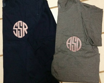 Chevron stitched initial t shirt