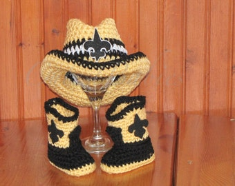 Newborn Baby Crochet New Orleans Saints Cowboy/Cowgirl Hat & Boots. Photo Prop.