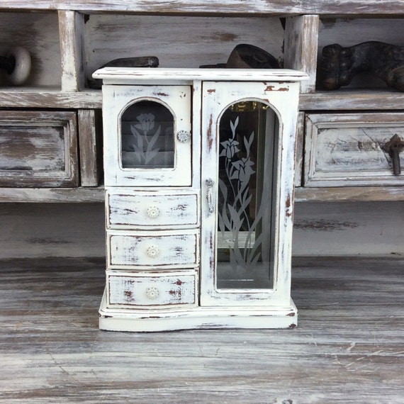 RUSTIC JEWELRY BOX White Jewelry Armoire With by ShabbyShores