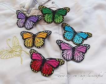 4 pieces-- Colorful Butterfly Embroidery Appliques Cotton Applique, Butterfly Patch, Iron on Applique