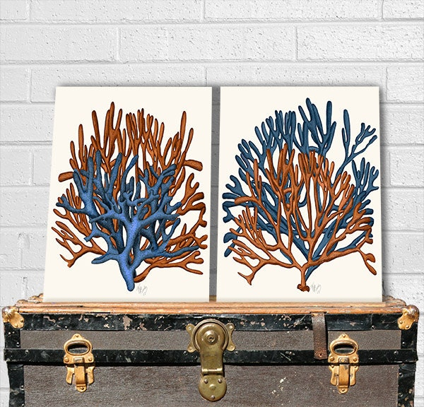 Coral home decor blue and orange coral print 1 by nauticalnell - Orange and blue decor ...